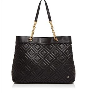Tory Burch🔴Fleming Quilted Leather Tote Black